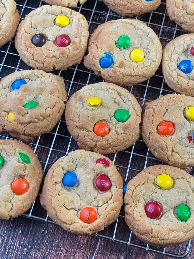 Homemade cookies with M&Ms mixed in and laid on top