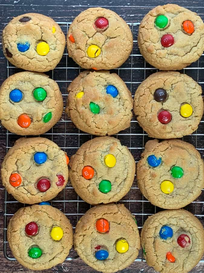 Cooling rack with colorful and easy M&M cookies