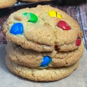 Stack of 3 M&M cookies