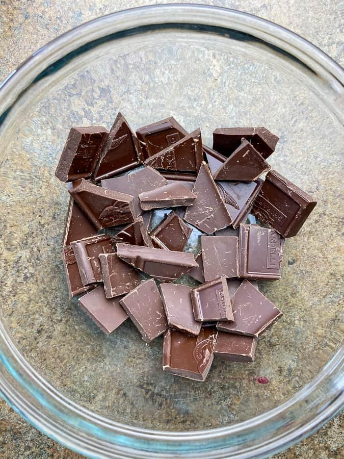 Broken pieces of semisweet chocolate
