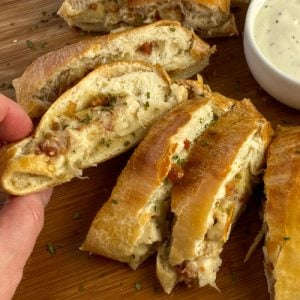 Stromboli filled with chicken, bacon and ranch