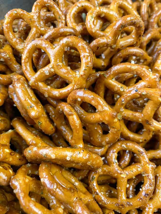 Close up look at flavored pretzels