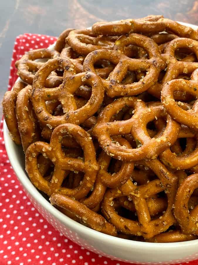 Seasoned pretzels heaped in a serving bowl