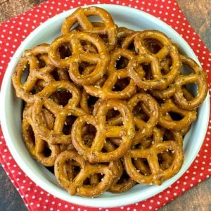 Spicy pretzels in a snack dish