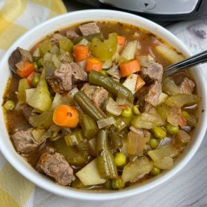 White bowl full of vegetable soup with beef