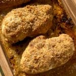 Easy breading on chicken breasts baked in garlic butter