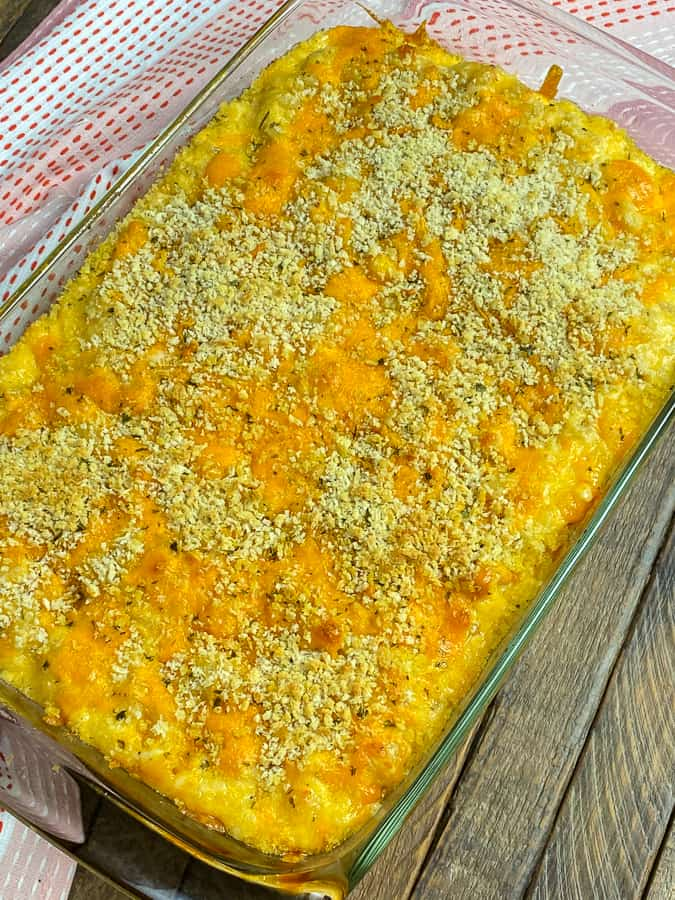 baking dish full of super cheesy farmhouse mac and cheese