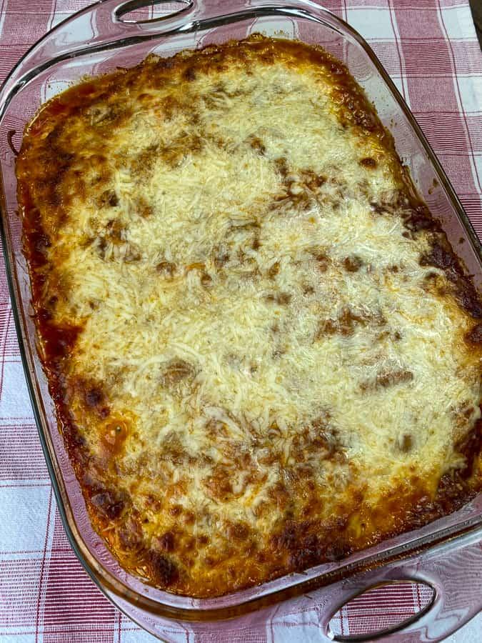 Mozzarella cheese layer on top of Spaghetti bake
