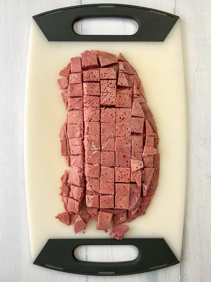 chopped corned beef on a cutting board
