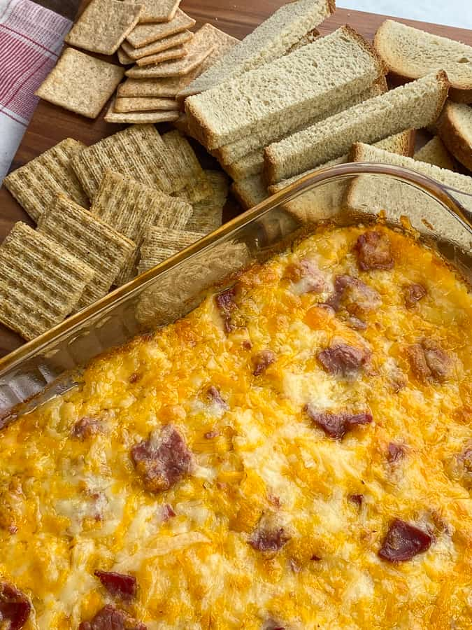Classic baked reuben dip by crackers and rye bread for dipping