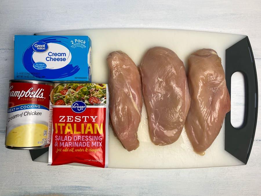 4 ingredient creamy shredded chicken ingredients on cutting board