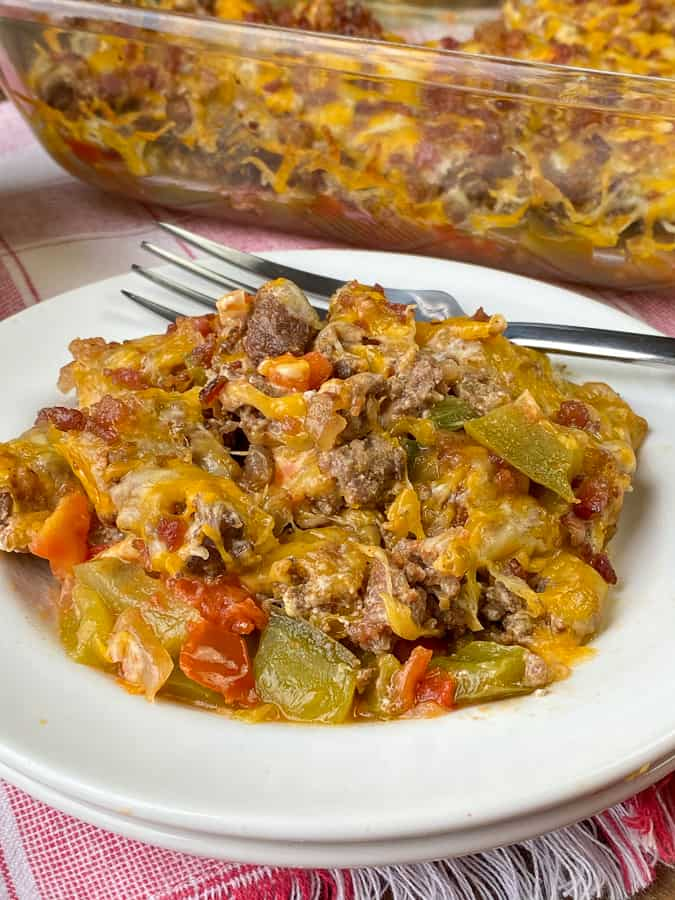 Bacon covered keto ground beef casserole or dip on plate