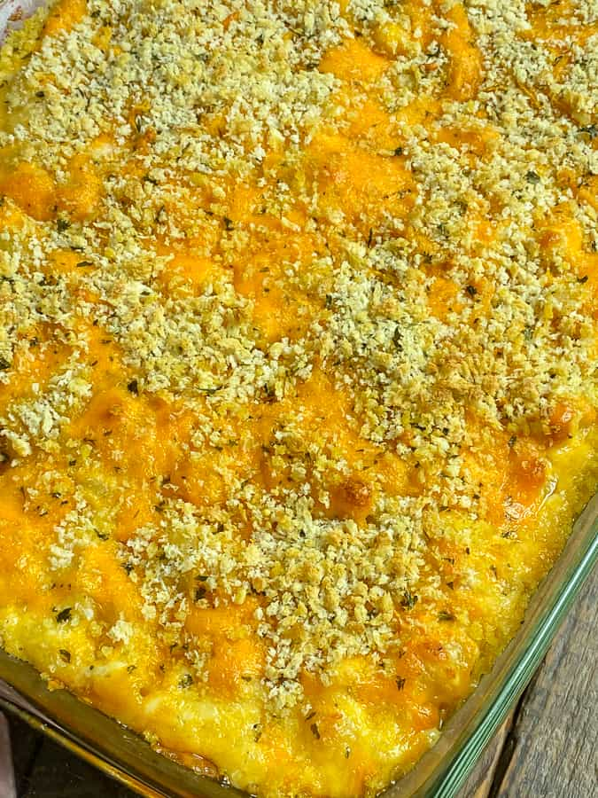 9x13 pan of homemade baked mac and cheese with heavy cream and panko breadcrumbs