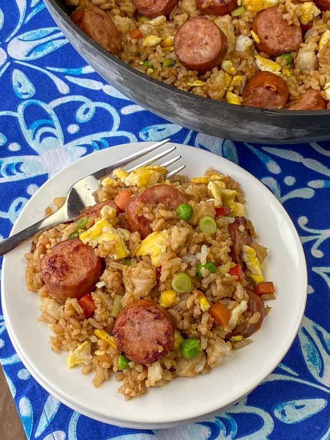 Plate of spicy sausage cajun fried rice