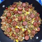 Smoked sausage fried rice in a skillet