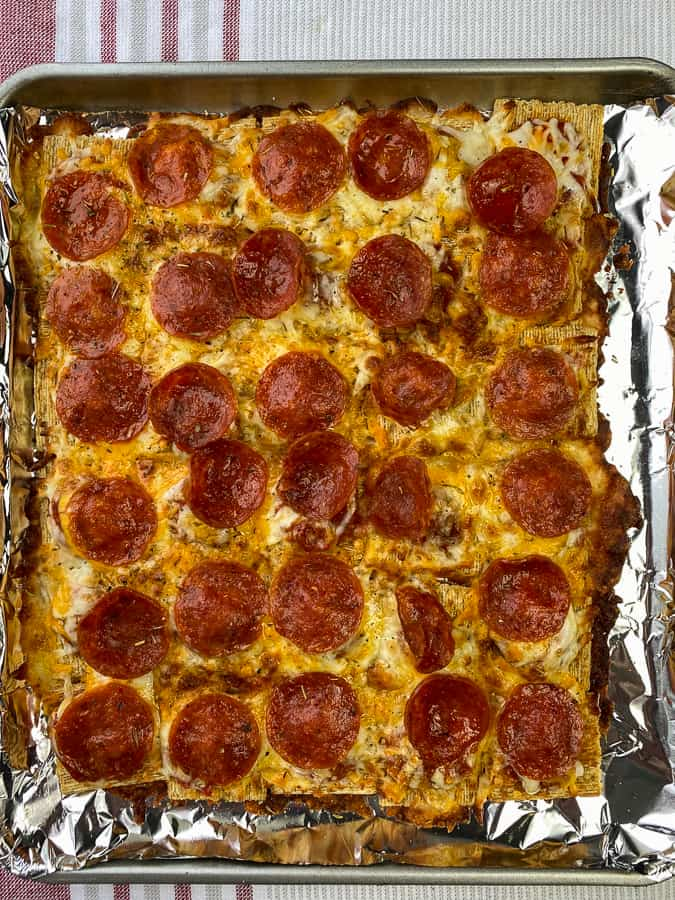 Air fryer sheet of Triscuit pepperoni pizza