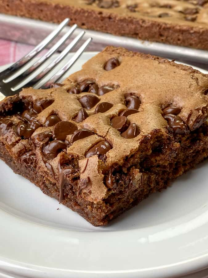 Soft chocolate chips on top of a brownie