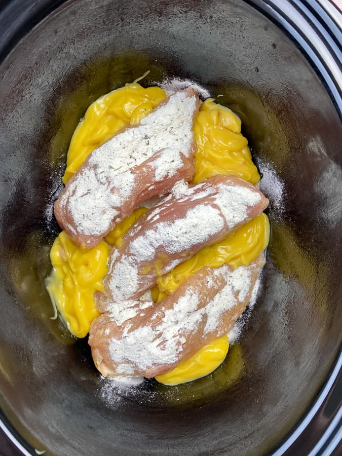 Chicken breasts with ranch and cream of chicken soup in crock pot
