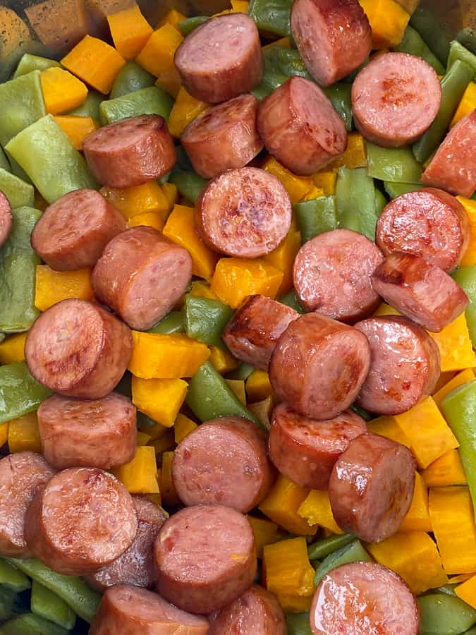 Electric pressure cooker smoked sausage, sweet potatoes and green beans