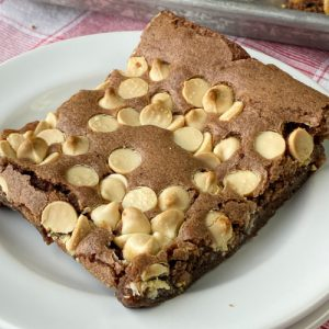Soft and delicious white chocolate chip brownie