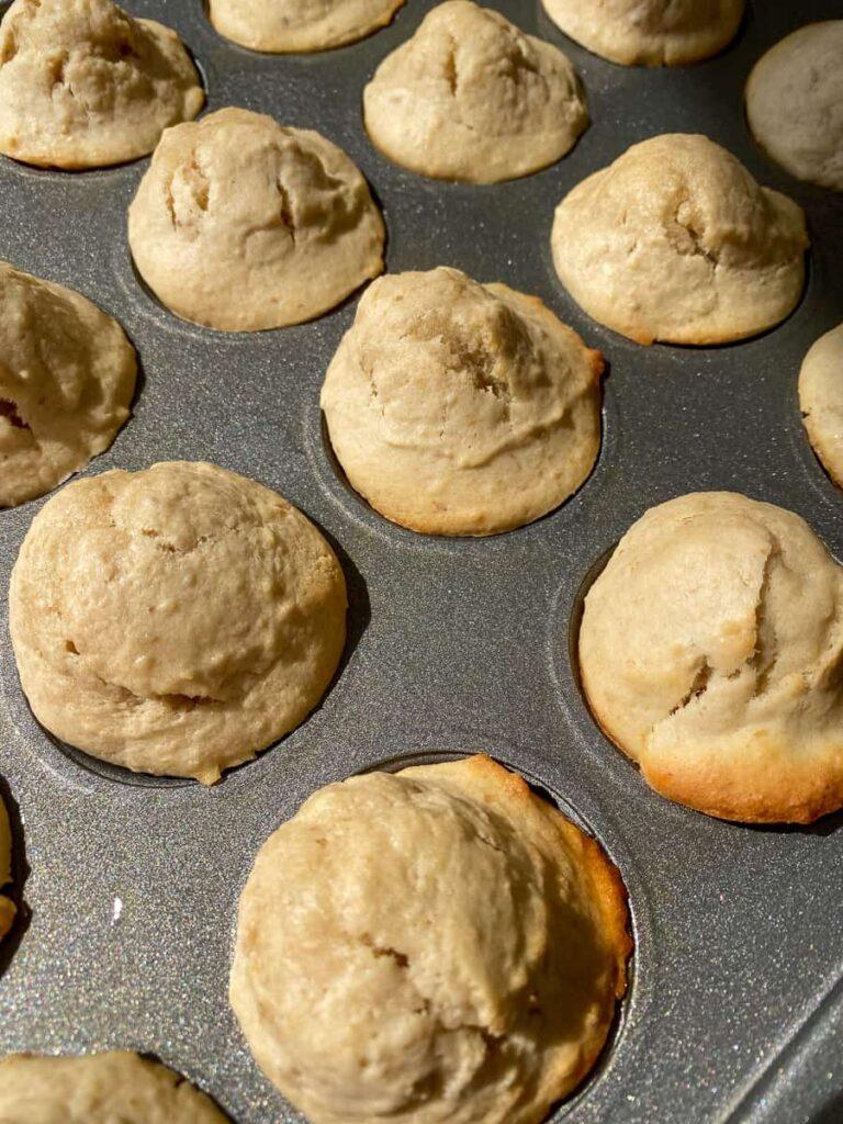 Baking sheet of homemade mini muffin bites