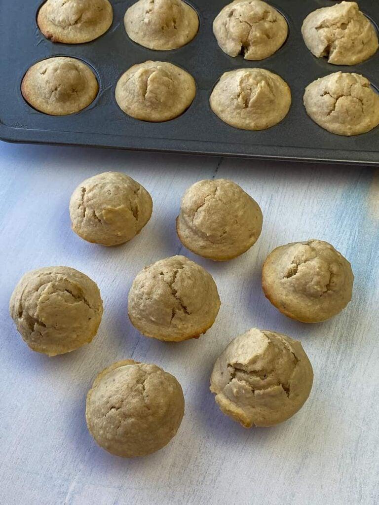 Arrangement mini banana nut muffins on white counter