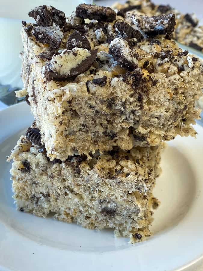 Stack of Oreo Rice Krispie treats