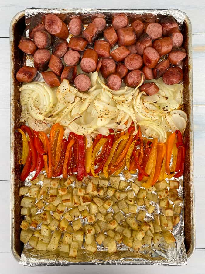 Sheet pan meal with meat, potatoes and veggies