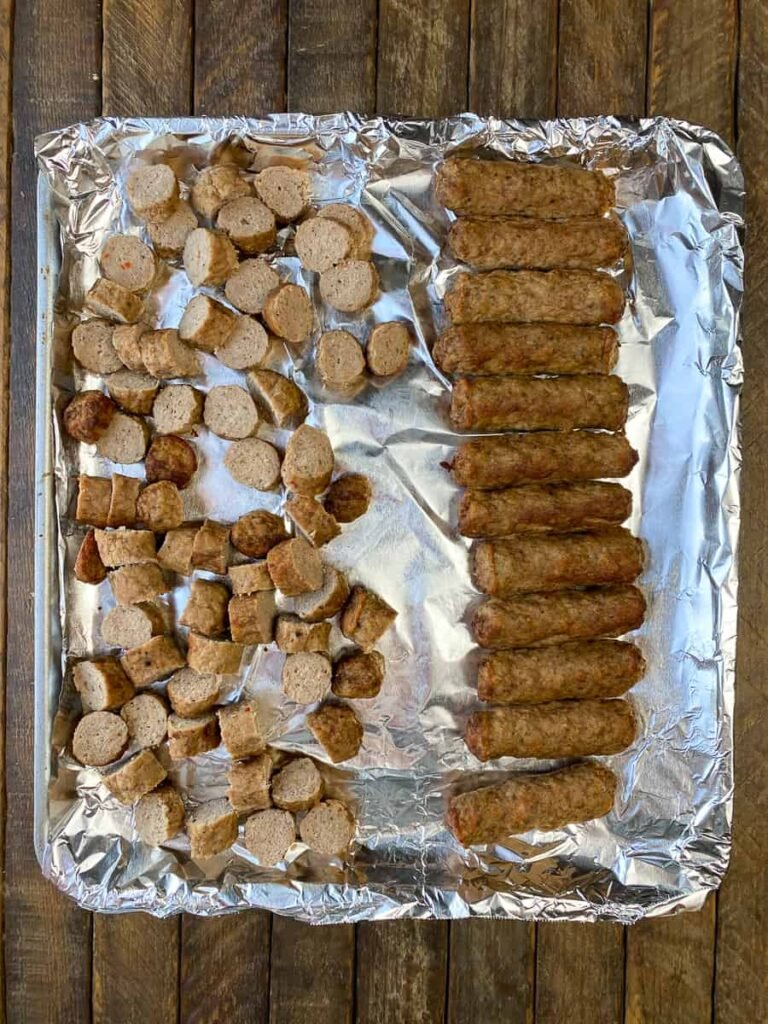 Turkey sausage links on an air fryer tray
