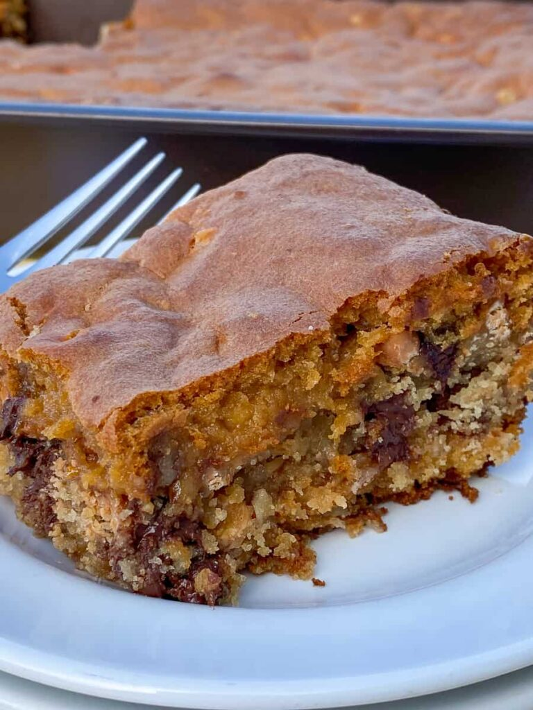 Best butterscotch cookie bar on a plate with a fork
