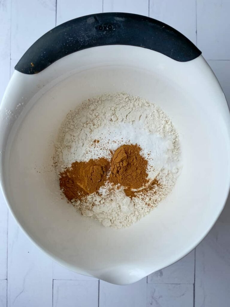 Dry ingredients in a mixing bowl