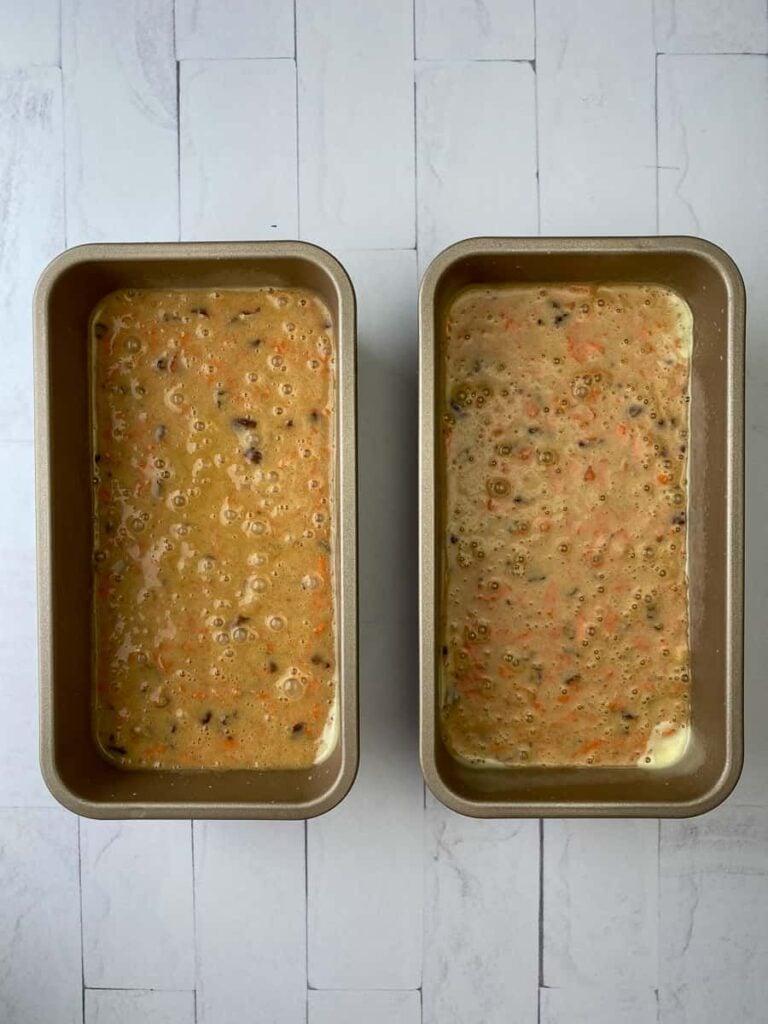 Carrot cake batter in loaf pans
