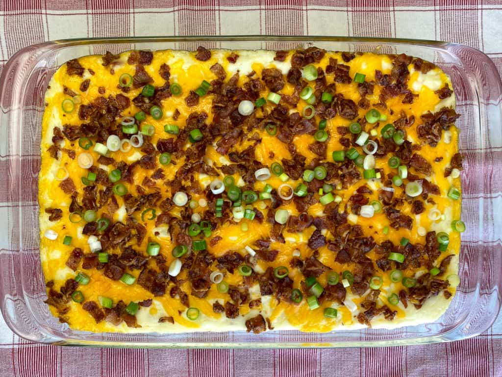 9 x 13 pan of loaded potato casserole