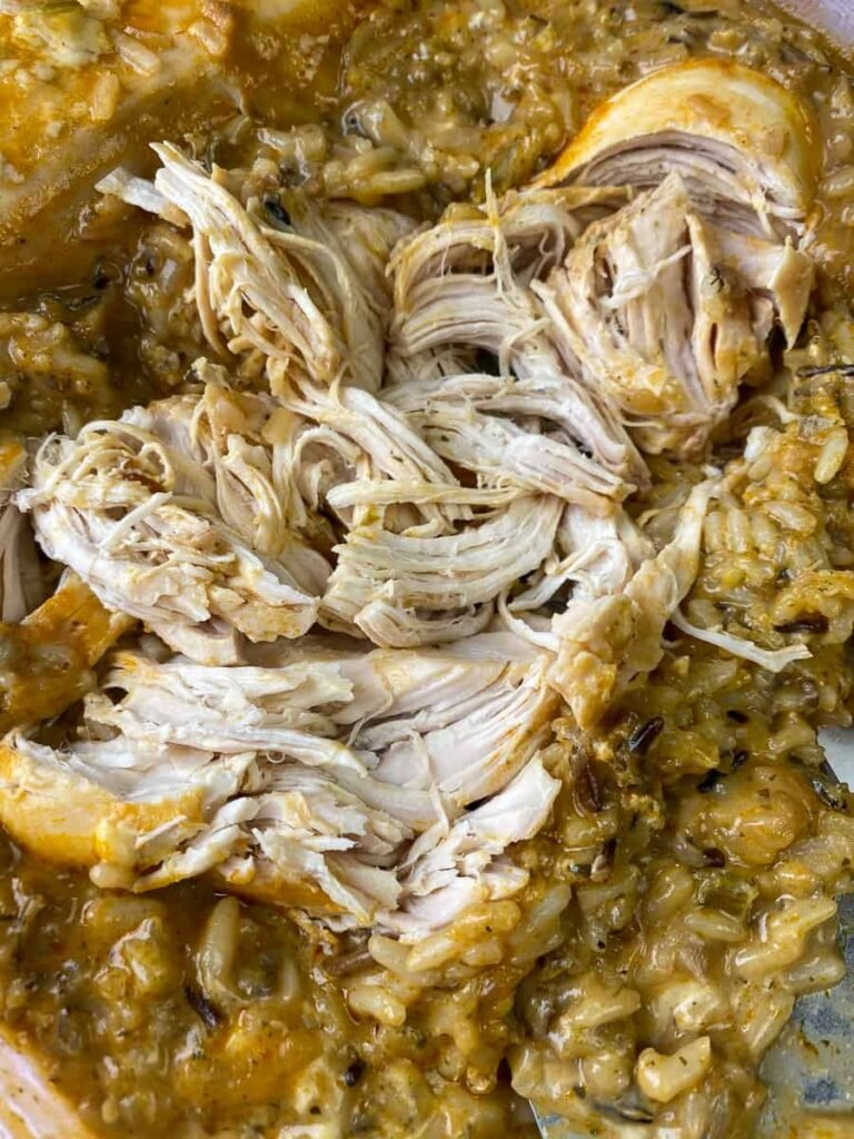 No-peek chicken made in crock pot and shredded