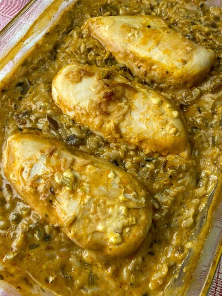 Chicken and wild rice recipe baked in a casserole dish