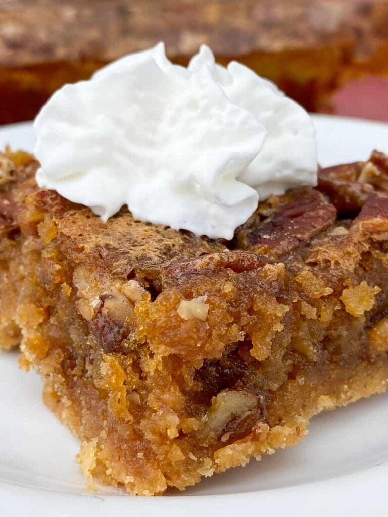 Close up semi-homemade pecan pie bar with cake mix crust