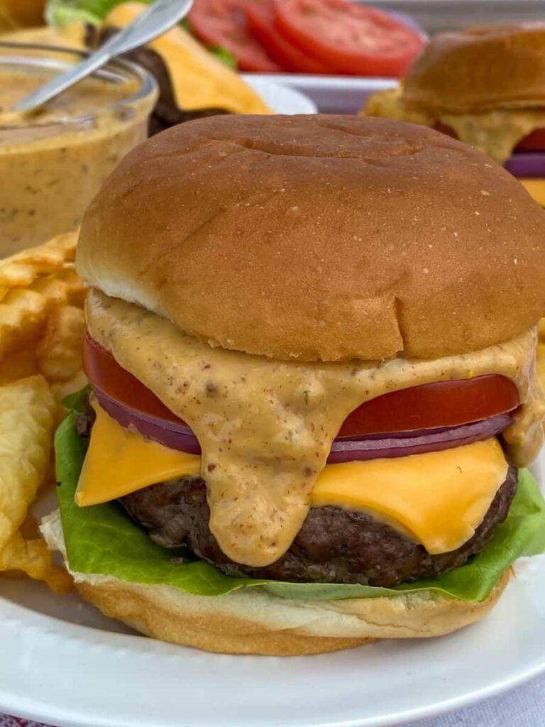 Close up hamburger with the best burger sauce
