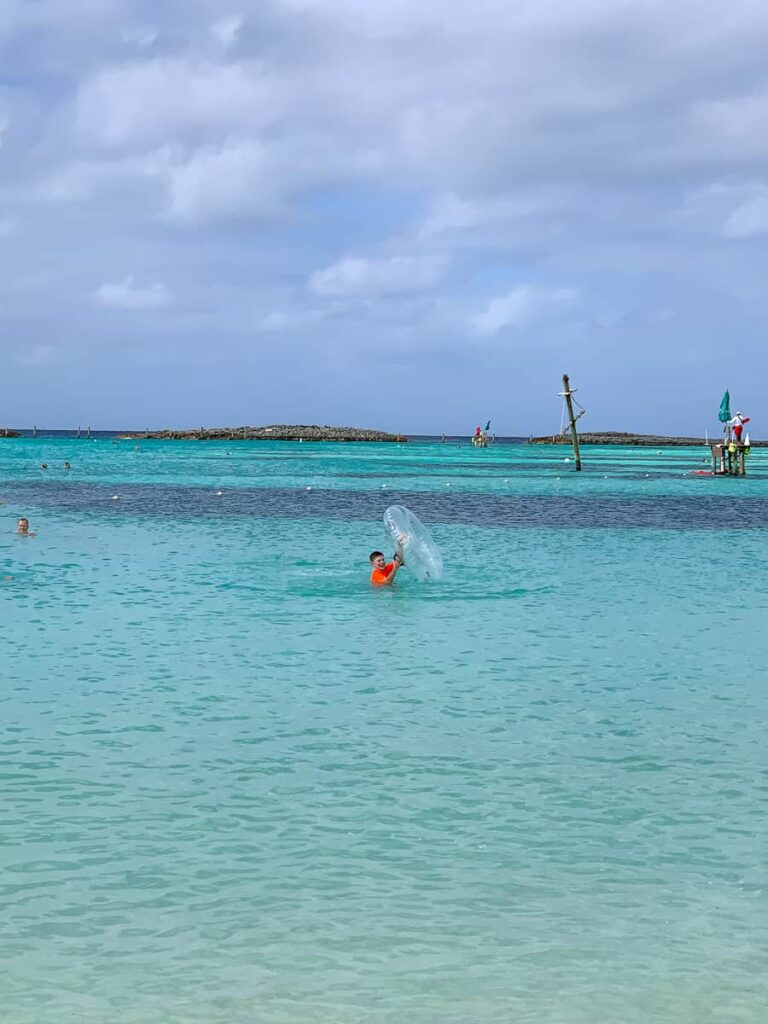 Beach and water playground at Castaway Cay
