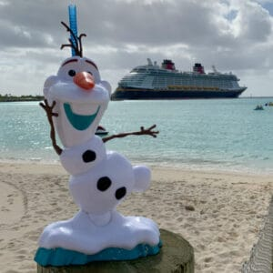 Disney cruise ship at their private island in the Caribbean