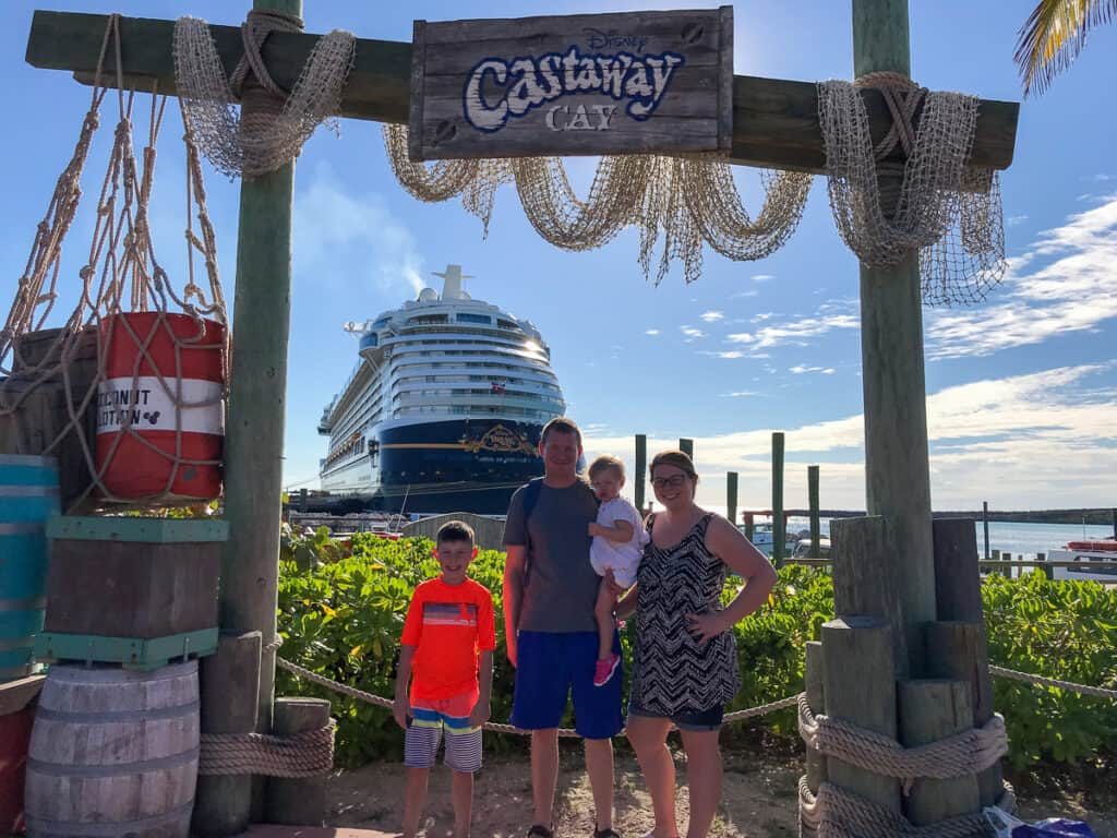 Picture with Disney Dream in background at Castaway Cay photo spot