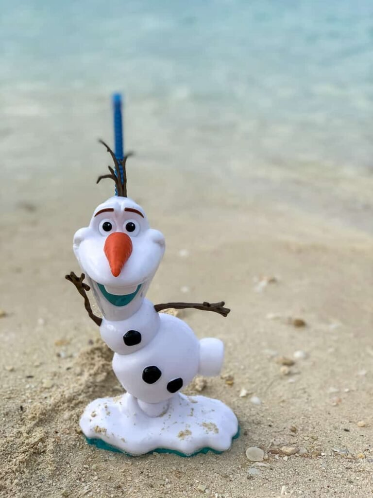Olaf next to the ocean in the Caribbean