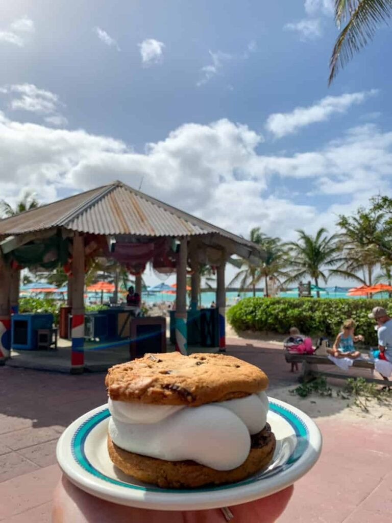 Ice cream sandwich on the beach with palm trees
