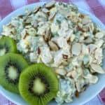 Serving bowl of chicken salad garnished with slices of kiwi