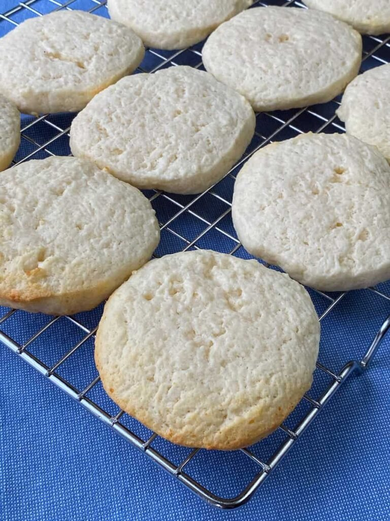 Baked cottage cheese cookies on a cooling rack