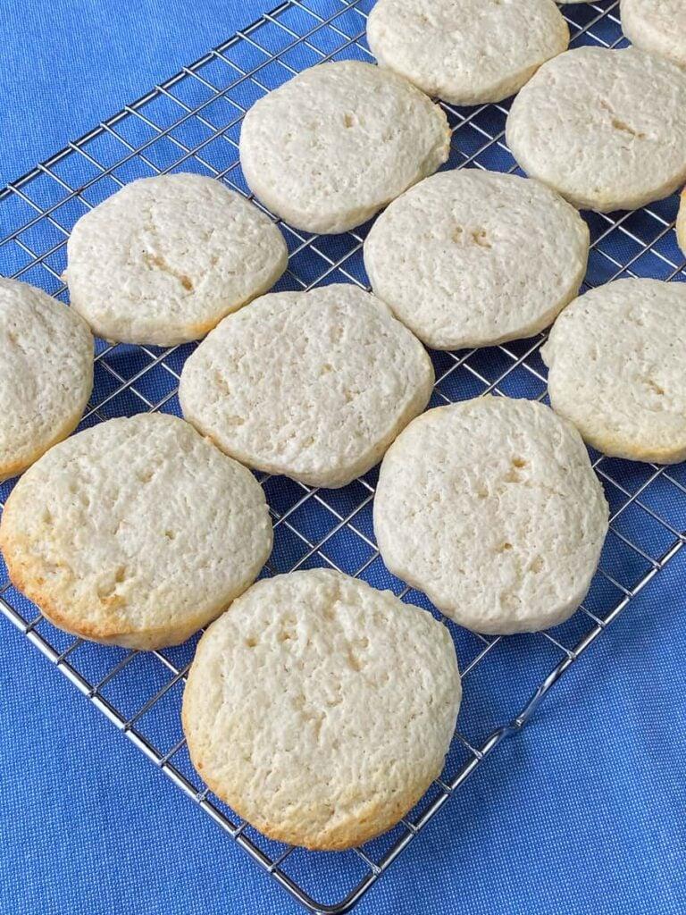 Baking rack full of cottage cheese sugar cookies