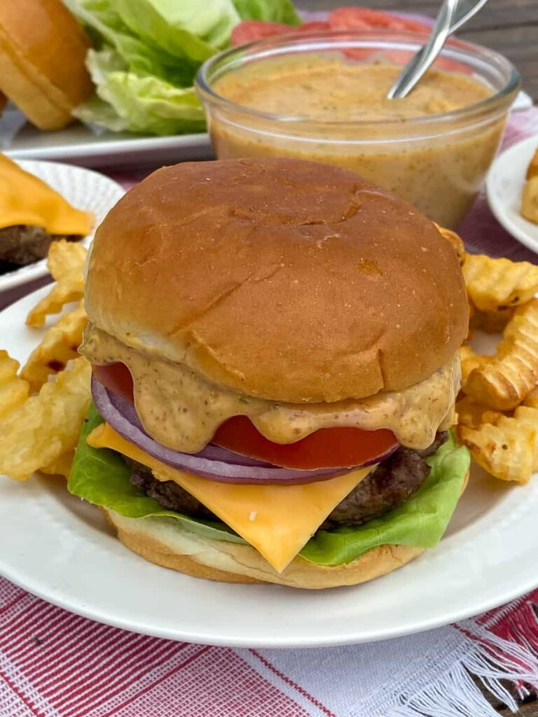 Cheeseburger with a simple homemade burger sauce recipe used to add flavor