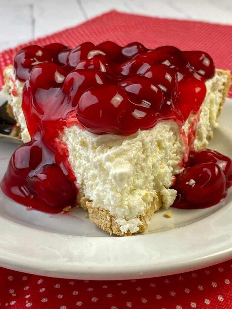 Beautiful slice of no-bake cherry cheesecake