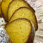 Slices of sherry cake from a yellow cake mix