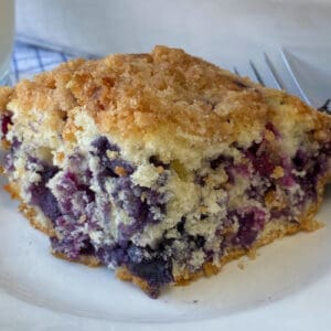 Blueberry coffee cake loaded with blueberries