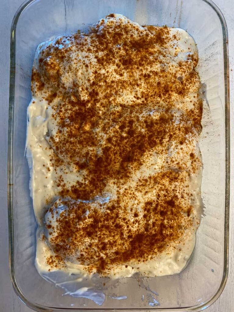 paprika sprinkled on chicken casserole